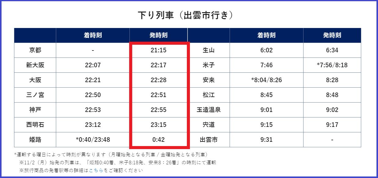 JR西日本 銀河 時刻表 行き 画像