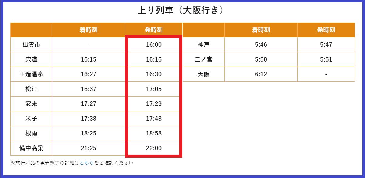 JR西日本 銀河 時刻表 帰り 画像